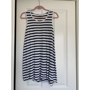 Navy and White Striped Maternity Tank.